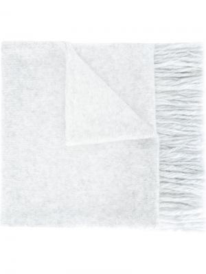 Вязаный шарф со скандинавским орнаментом Ami Alexandre Mattiussi. Цвет: серый