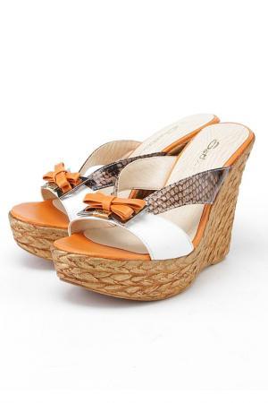 Сабо Sattini. Цвет: белый, оранжевый, рептилия