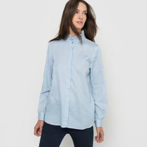 Рубашка в полоску, воротник с воланами SCHOOL RAG. Цвет: синий/ в полоску