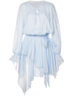 Платье с оборками Alexandre Vauthier. Цвет: синий