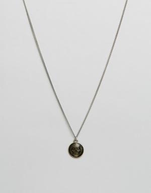 Icon Brand Серебристое ожерелье с подвеской в виде черепа. Цвет: серебряный