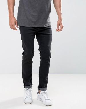 LDN DNM Черные выбеленные джинсы слим. Цвет: черный