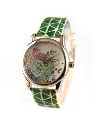 Дизайнерские часы Succulents Tina Bolotina. Цвет: зеленый, светло-зеленый, белый