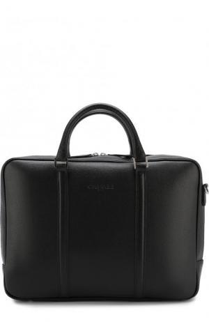 Кожаная сумка для ноутбука с плечевым ремнем Canali. Цвет: черный