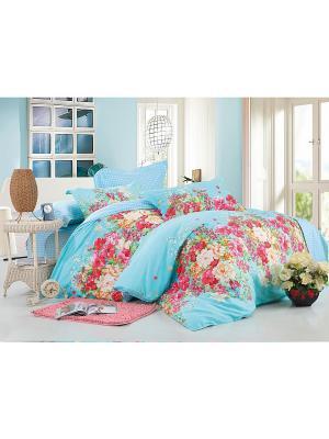 Комплект постельного белья ДУЭТ сатин, рисунок 685 LA NOCHE DEL AMOR. Цвет: голубой
