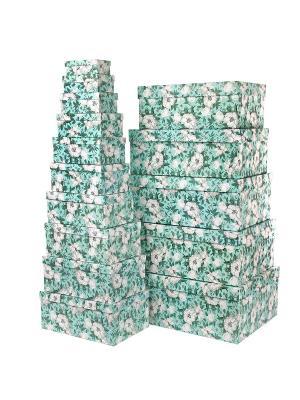 Набор из 15 картонных коробок 12*6,5*4-46,6*33*18см,  Анаис VELD-CO. Цвет: салатовый, серо-зеленый