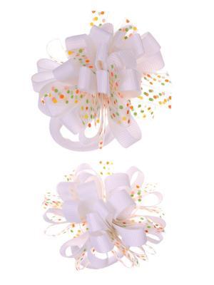 Банты из ленты на резинке в разноцветный полупрозрачный горох, белый, набор 2 шт Радужки. Цвет: белый