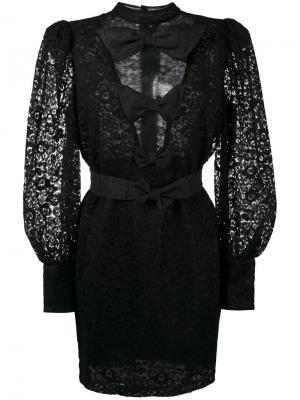 Полупрозрачное кружевное платье мини с бантом Alessandra Rich. Цвет: чёрный