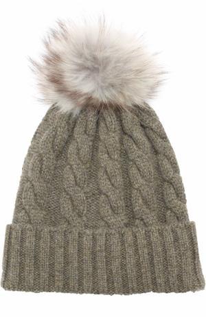 Кашемировая шапка фактурной вязки с меховым помпоном Kashja` Cashmere. Цвет: хаки