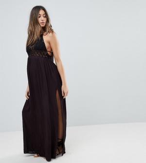 ASOS Maternity Пляжное платье макси с ажурной вставкой Premium. Цвет: черный