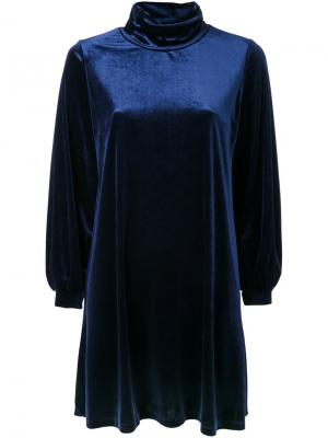 Велюровое платье Cityshop. Цвет: синий