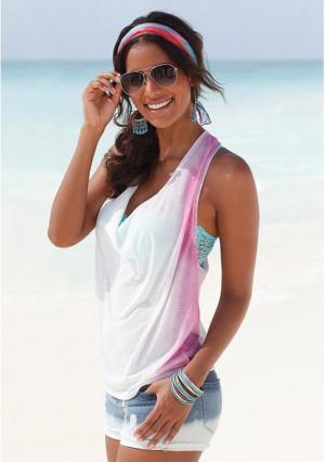 Пляжный топ s.Oliver. Цвет: белый/бирюзовый, белый/ярко-розовый