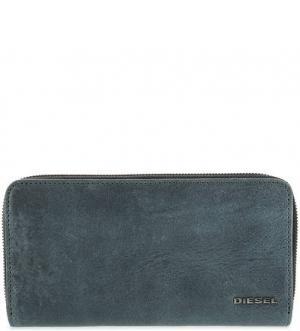Бирюзовый кожаный кошелек на молнии Diesel. Цвет: бирюзовый