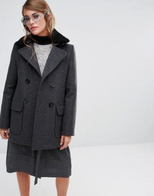 Gloverall Пальто со съемным меховым воротником Reefer. Цвет: серый