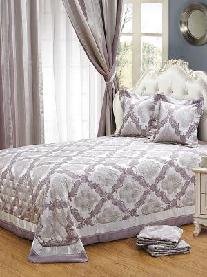 Шторы 270х275, жаккард, серо-сиреневые полосы, 2 полотна Asabella. Цвет: лиловый