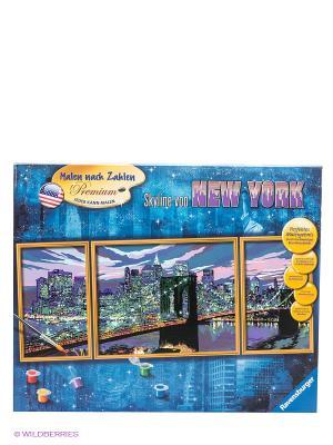 Набор для рисования Небоскребы Нью-Йорка Ravensburger. Цвет: синий, желтый, розовый