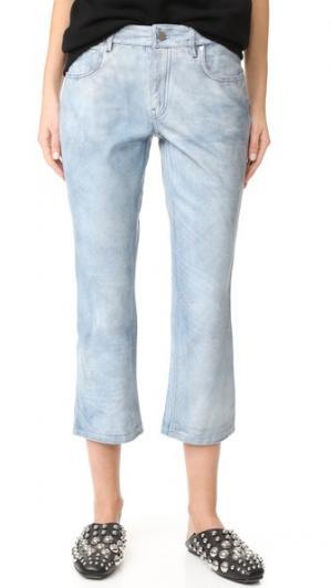 Слегка расклешенные кожаные брюки Alexander Wang. Цвет: светлый индиго