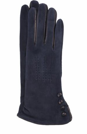 Замшевые перчатки с кашемировой подкладкой Sermoneta Gloves. Цвет: темно-синий
