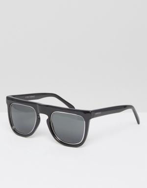 Komono Черные солнцезащитные очки с прямым верхом Bennet. Цвет: черный