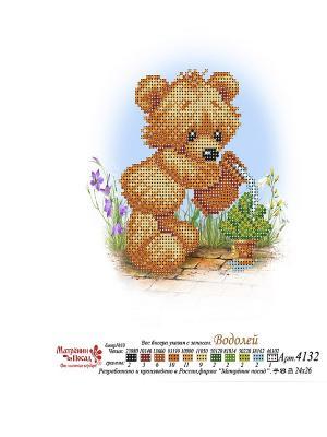 Рисунок на шелке Мишка Водолей Матренин Посад. Цвет: белый, коричневый