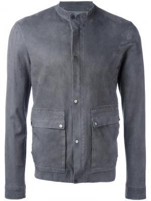 Кожаная куртка на пуговицах Salvatore Santoro. Цвет: серый