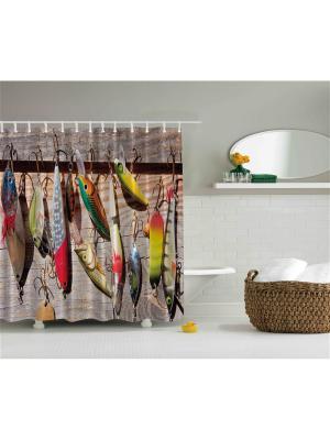 Фотоштора для ванной Любопытный тигр, старое окно, рыболовные блёсны, игра в покер, 180x200 см Magic Lady. Цвет: желтый, бежевый, коричневый, красный