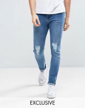 Brooklyn Supply Co. Рваные джинсы скинни в винтажном стиле Co. Цвет: синий