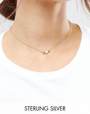 ASOS Ожерелье из позолоченного серебра с подвеской Телец. Цвет: медный