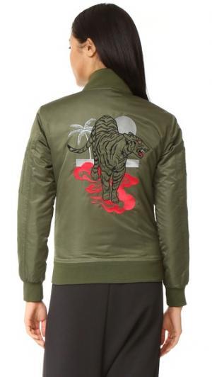 Летная куртка-бомбер Love Junkie CHRLDR. Цвет: шалфей