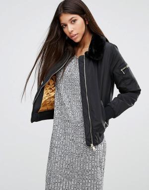 Parisian Куртка с воротником из искусственного меха. Цвет: черный