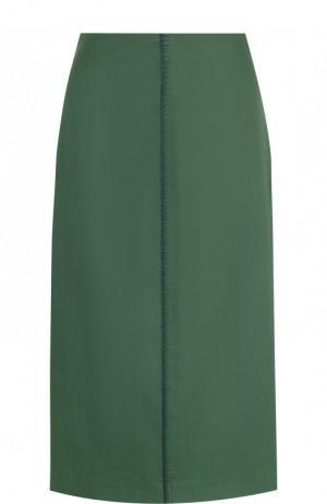 Однотонная хлопковая юбка-миди Fendi. Цвет: зеленый