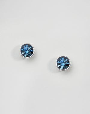 Pilgrim Посеребренные серьги-гвоздики с синими камнями. Цвет: синий