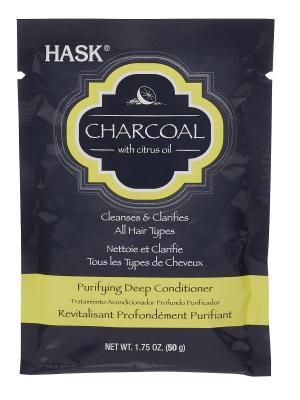 Очищающая маска для волос с углем и цитрусовым маслом HASK. Цвет: светло-серый