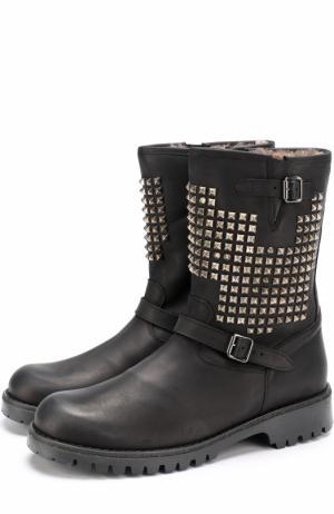 Кожаные сапоги с заклепками и внутренней меховой отделкой Gallucci. Цвет: черный