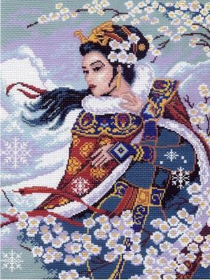 Рисунок на канве Восточный цветок Матренин Посад. Цвет: темно-синий