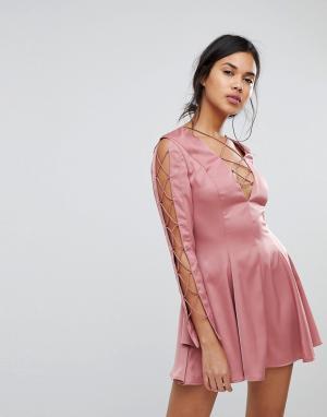 Finders Keepers Блестящее платье мини с вырезами. Цвет: розовый
