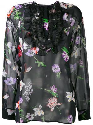 Топ с цветочным принтом и нагрудником Giambattista Valli. Цвет: чёрный