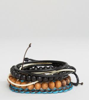 Classics 77 Набор браслетов из шнурка и бусин. Цвет: мульти