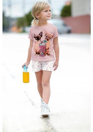 Шорты, 2 штуки. Цвет: дымчато-розовый+цвет белой шерсти с рисунком, цвет белой шерсти+мятный пастельный с рисунком