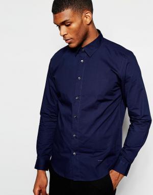 Wincer & Plant Облегающая строгая рубашка из эластичного хлопка. Цвет: темно-синий