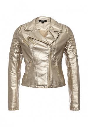 Куртка кожаная Jennyfer. Цвет: золотой