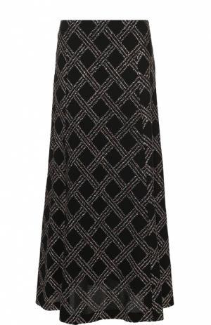 Юбка-макси с декоративной контрастной отделкой Dries Van Noten. Цвет: черный