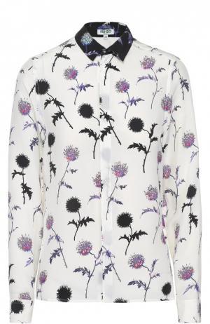 Шелковая блуза прямого кроя с цветочным принтом Kenzo. Цвет: белый