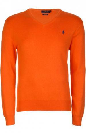 Хлопковый пуловер с V-образным вырезом Polo Ralph Lauren. Цвет: оранжевый