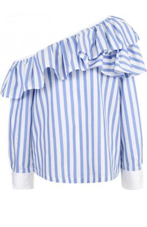 Блуза в полоску с открытым плечом Clu. Цвет: синий
