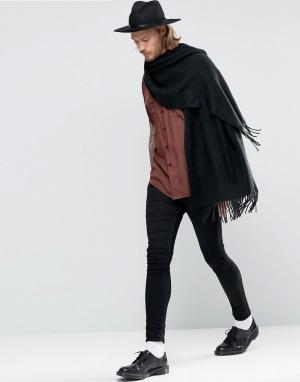 ASOS Черный тканый шарф‑накидка. Цвет: черный