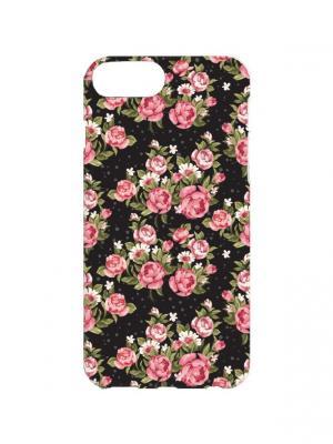 Чехол для iPhone 7Plus Розовые пионы на черном Арт. 7Plus-196 Chocopony. Цвет: розовый, черный
