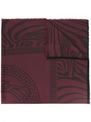 Шаль Zebra Medusa Versace. Цвет: красный