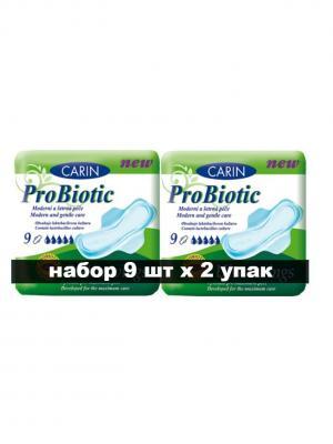 Гигиенические прокладки Ultra Wings Probiotic, с пробиотиками, 9 шт\упак, в наборе 2 упаковки Carin. Цвет: белый