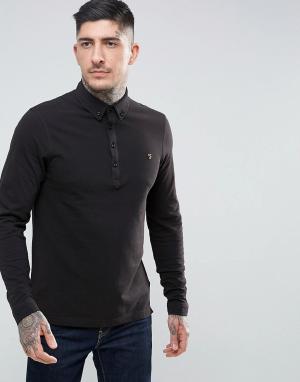 Farah Черная узкая футболка-поло из пике с длинными рукавами Merriweat. Цвет: черный